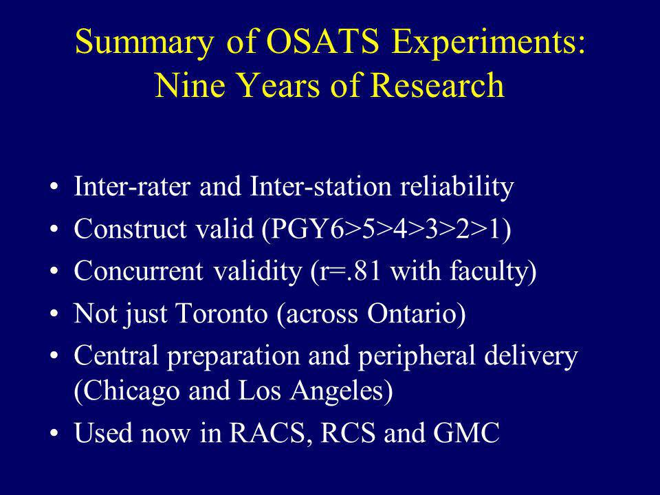 Summary of OSATS Experiments: Nine Years of Research Inter-rater and Inter-station reliability Construct valid (PGY6>5>4>3>2>1) Concurrent validity (r=.81 with faculty) Not just Toronto (across Ontario) Central preparation and peripheral delivery (Chicago and Los Angeles) Used now in RACS, RCS and GMC