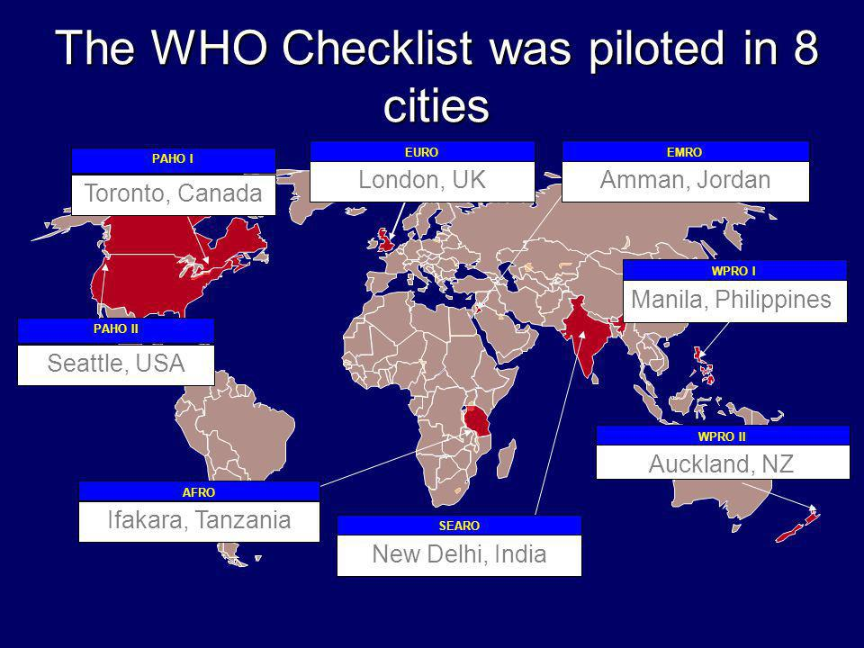 London, UK EUROEMRO WPRO I SEARO AFRO PAHO I Amman, Jordan Toronto, Canada New Delhi, India Manila, Philippines Ifakara, Tanzania WPRO II Auckland, NZ PAHO II Seattle, USA The WHO Checklist was piloted in 8 cities