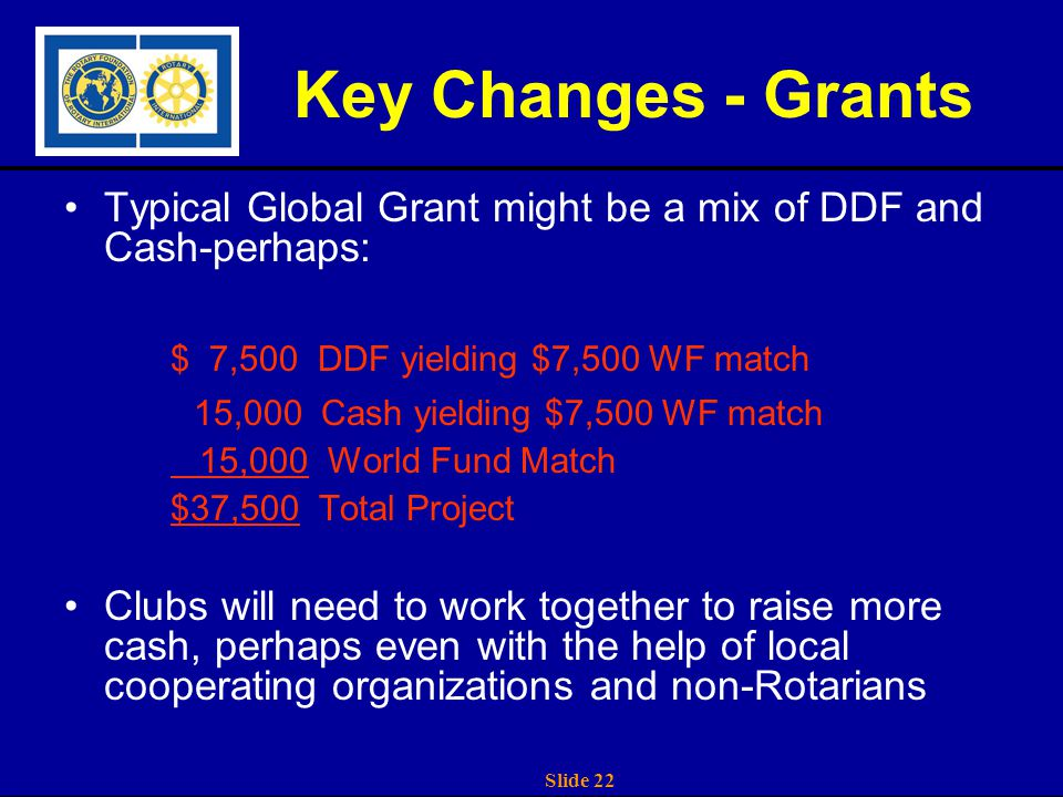 Slide 22 Key Changes - Grants Typical Global Grant might be a mix of DDF and Cash-perhaps: $ 7,500 DDF yielding $7,500 WF match 15,000 Cash yielding $7,500 WF match 15,000 World Fund Match $37,500 Total Project Clubs will need to work together to raise more cash, perhaps even with the help of local cooperating organizations and non-Rotarians