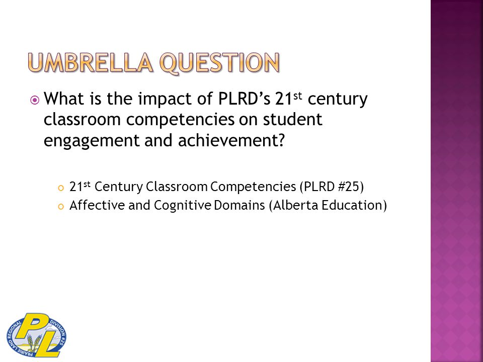  What is the impact of PLRD's 21 st century classroom competencies on student engagement and achievement? 21 st Century Classroom Competencies (PLRD