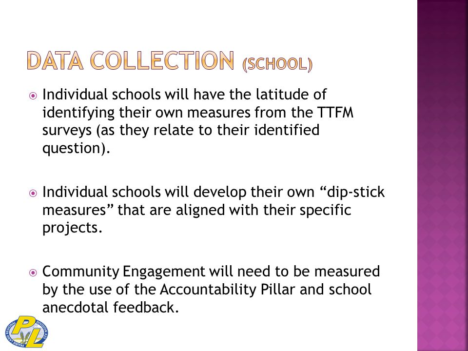  Individual schools will have the latitude of identifying their own measures from the TTFM surveys (as they relate to their identified question).