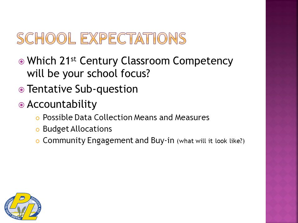  Which 21 st Century Classroom Competency will be your school focus?  Tentative Sub-question  Accountability Possible Data Collection Means and Mea