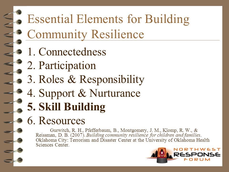 Essential Elements for Building Community Resilience 1. Connectedness 2. Participation 3. Roles & Responsibility 4. Support & Nurturance 5. Skill Buil