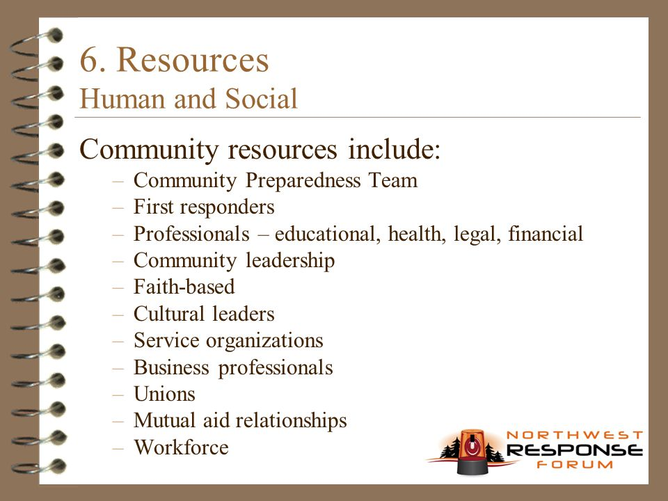 6. Resources Human and Social Community resources include: –Community Preparedness Team –First responders –Professionals – educational, health, legal,
