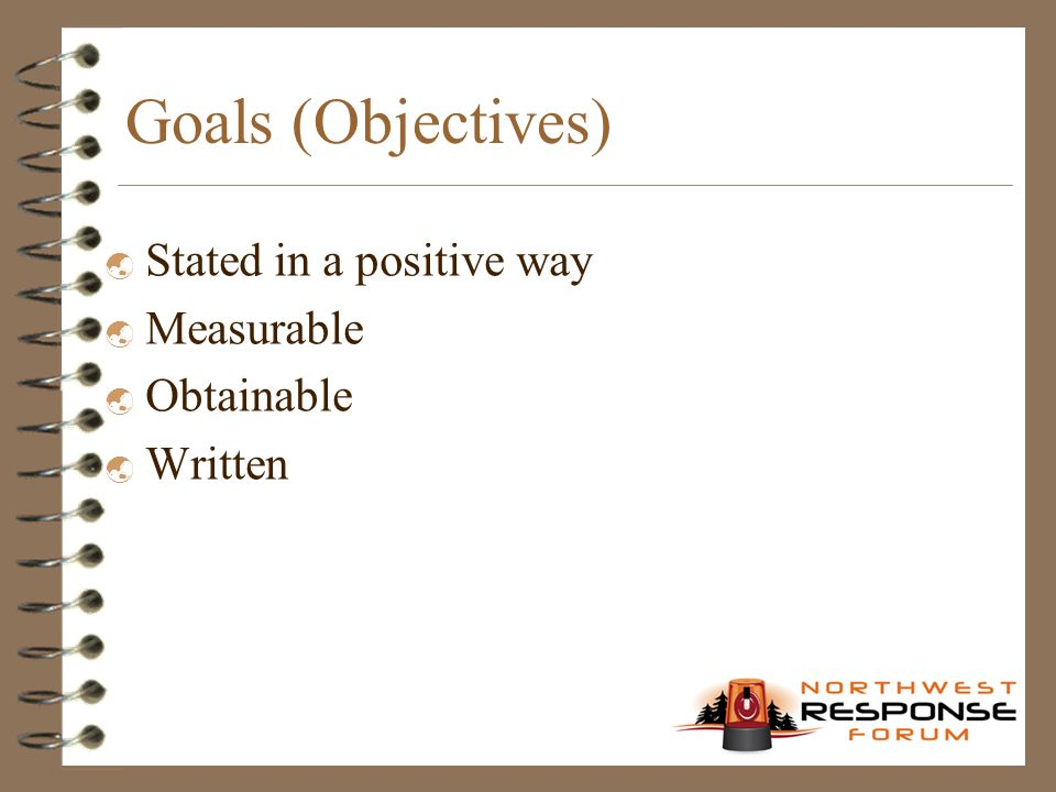 Goals (Objectives)  Stated in a positive way  Measurable  Obtainable  Written