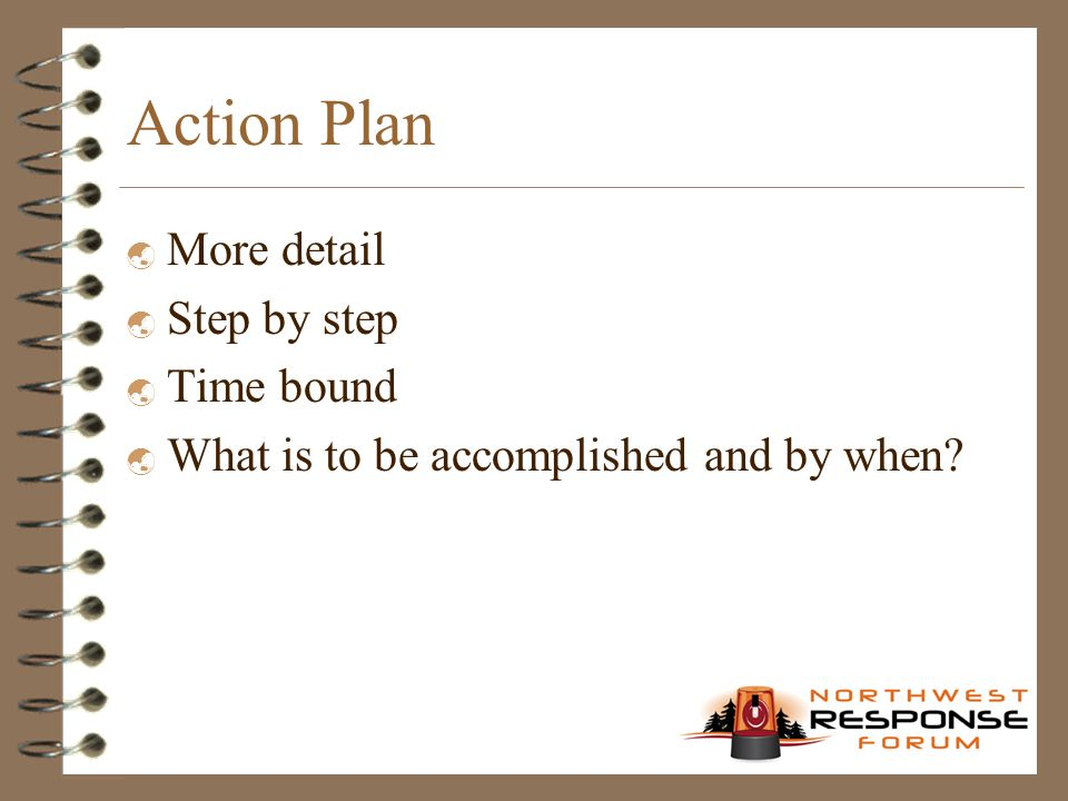 Action Plan  More detail  Step by step  Time bound  What is to be accomplished and by when?