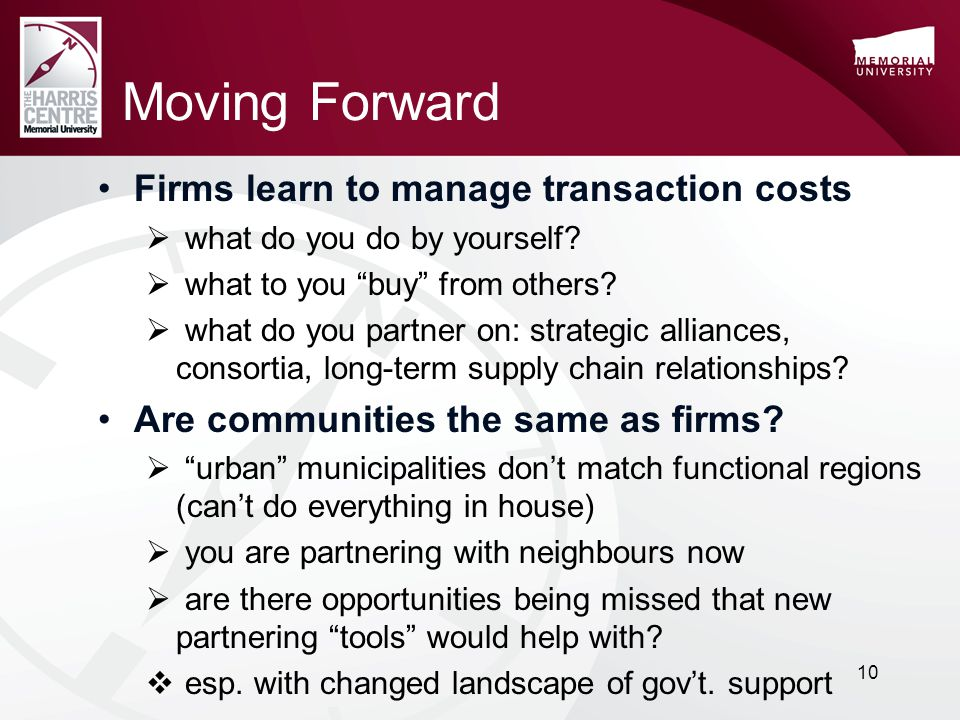 Moving Forward Firms learn to manage transaction costs  what do you do by yourself.
