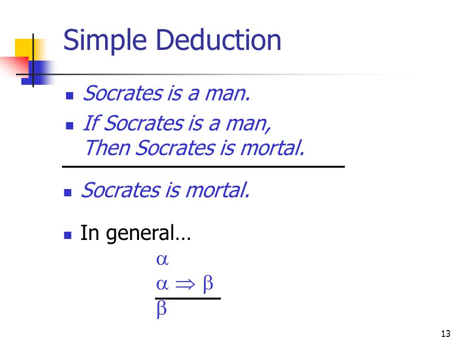 13 Simple Deduction Socrates is a man. If Socrates is a man, Then Socrates is mortal.