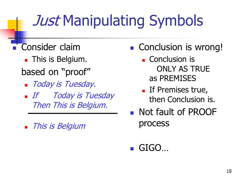 "18 Just Manipulating Symbols Consider claim This is Belgium. based on ""proof"" Today is Tuesday. If Today is Tuesday Then This is Belgium. This is Belg"