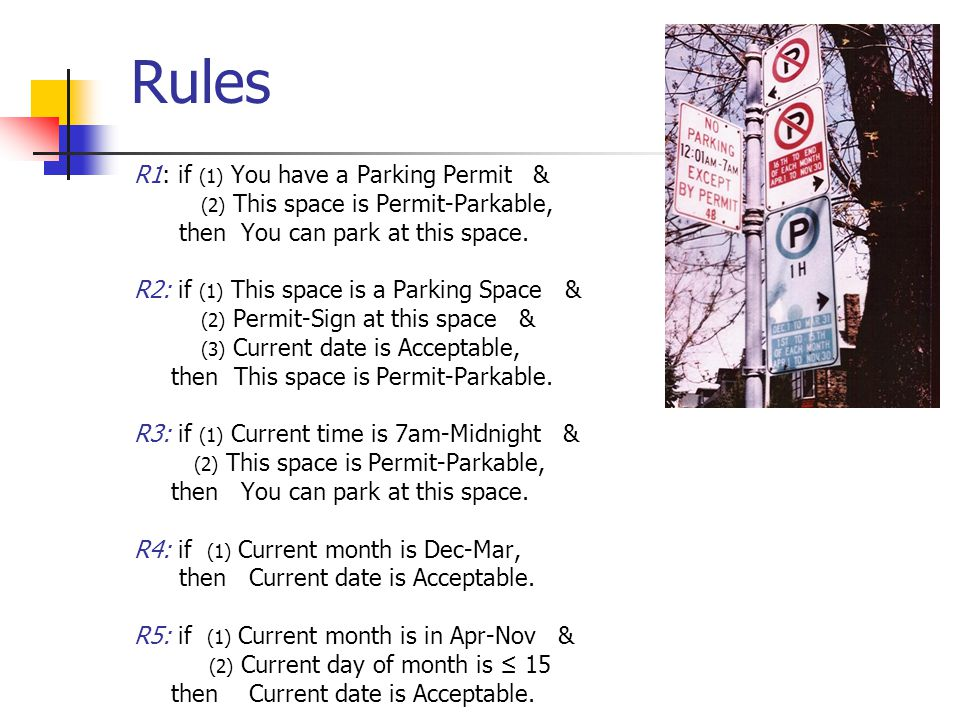 20 Rules R1: if (1) You have a Parking Permit & (2) This space is Permit-Parkable, then You can park at this space.