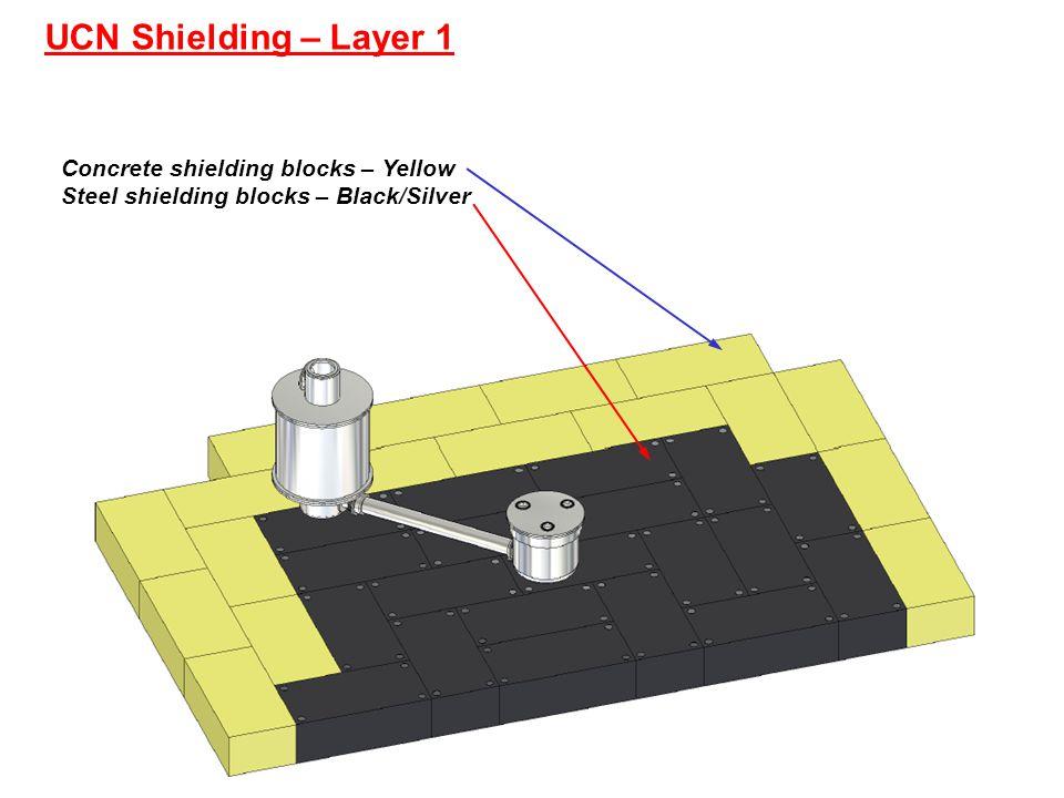 UCN Shielding – Layer 1 Concrete shielding blocks – Yellow Steel shielding blocks – Black/Silver