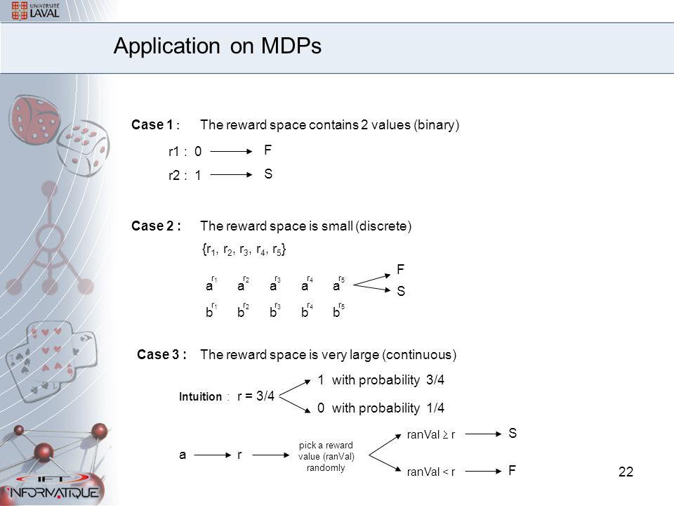 22 Application on MDPs Case 1 : The reward space contains 2 values (binary) r1 : 0 F r2 : 1 S Case 2 :The reward space is small (discrete) {r 1, r 2, r 3, r 4, r 5 } a r1r1 a r2r2 a r3r3 a r4r4 a r5r5 b r1r1 b r2r2 b r3r3 b r4r4 b r5r5 F S Case 3 :The reward space is very large (continuous) Intuition : r = 3/4 1 with probability 3/4 ar pick a reward value (ranVal) randomly ranVal  r ranVal < r S F 0 with probability 1/4