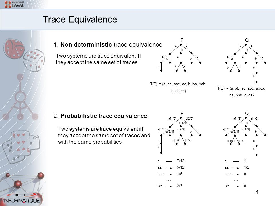 4 1. Non deterministic trace equivalence      P a ac   b c b a c c bb      Q a ba   c c b a a b   c a  b Trace Equivalence Tw
