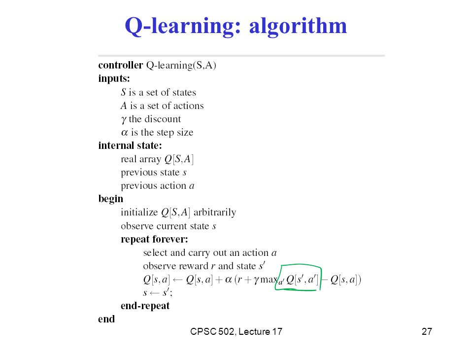 Q-learning: algorithm 27CPSC 502, Lecture 17