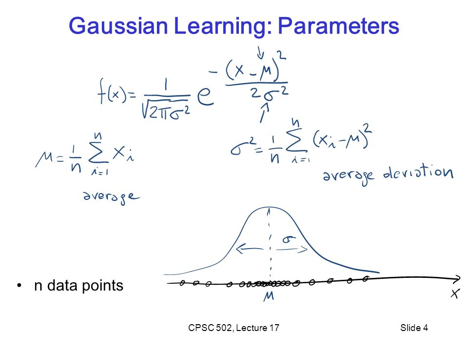 Gaussian Learning: Parameters n data points Slide 4CPSC 502, Lecture 17