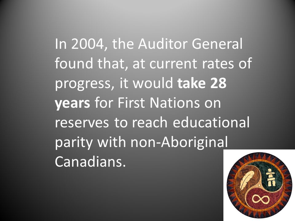 In 2004, the Auditor General found that, at current rates of progress, it would take 28 years for First Nations on reserves to reach educational parity with non-Aboriginal Canadians.