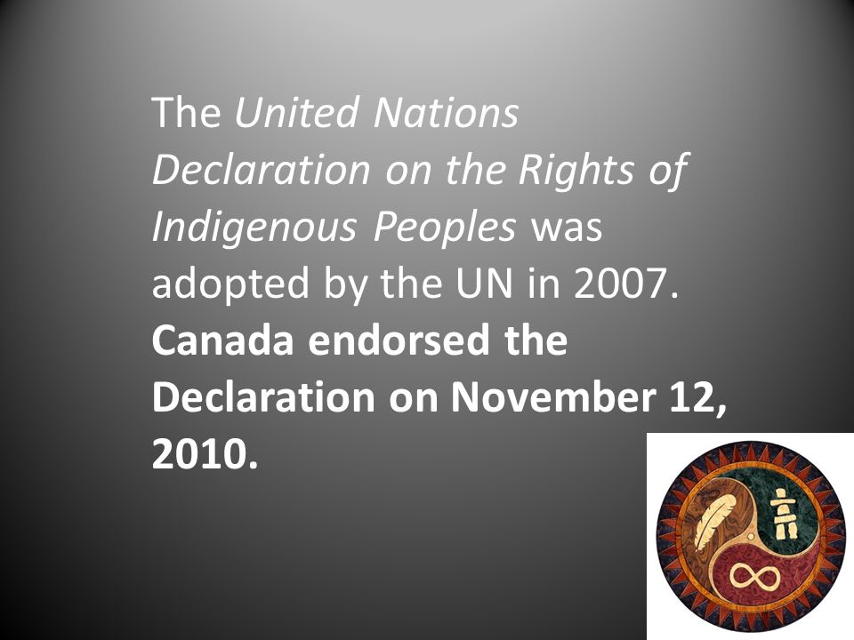 The United Nations Declaration on the Rights of Indigenous Peoples was adopted by the UN in 2007.