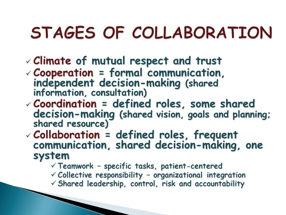 Climate of mutual respect and trust Climate of mutual respect and trust Cooperation = formal communication, independent decision-making (shared information, consultation) Cooperation = formal communication, independent decision-making (shared information, consultation) Coordination = defined roles, some shared decision-making (shared vision, goals and planning; shared resource) Coordination = defined roles, some shared decision-making (shared vision, goals and planning; shared resource) Collaboration = defined roles, frequent communication, shared decision-making, one system Collaboration = defined roles, frequent communication, shared decision-making, one system Teamwork – specific tasks, patient-centered Teamwork – specific tasks, patient-centered Collective responsibility – organizational integration Collective responsibility – organizational integration Shared leadership, control, risk and accountability Shared leadership, control, risk and accountability