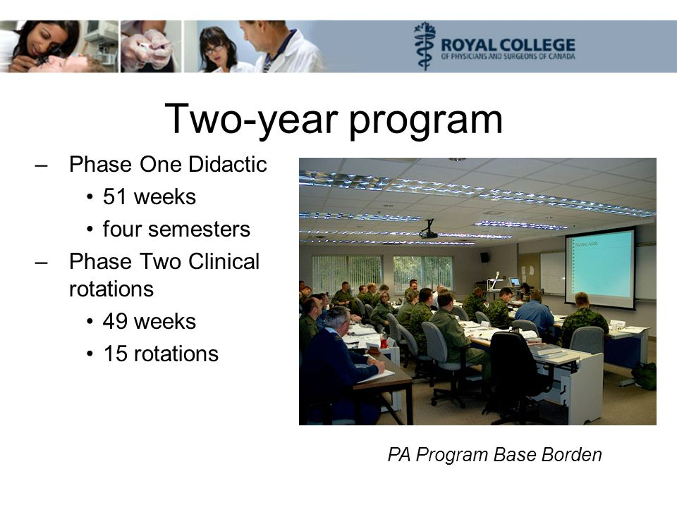 Two-year program –Phase One Didactic 51 weeks four semesters –Phase Two Clinical rotations 49 weeks 15 rotations PA Program Base Borden