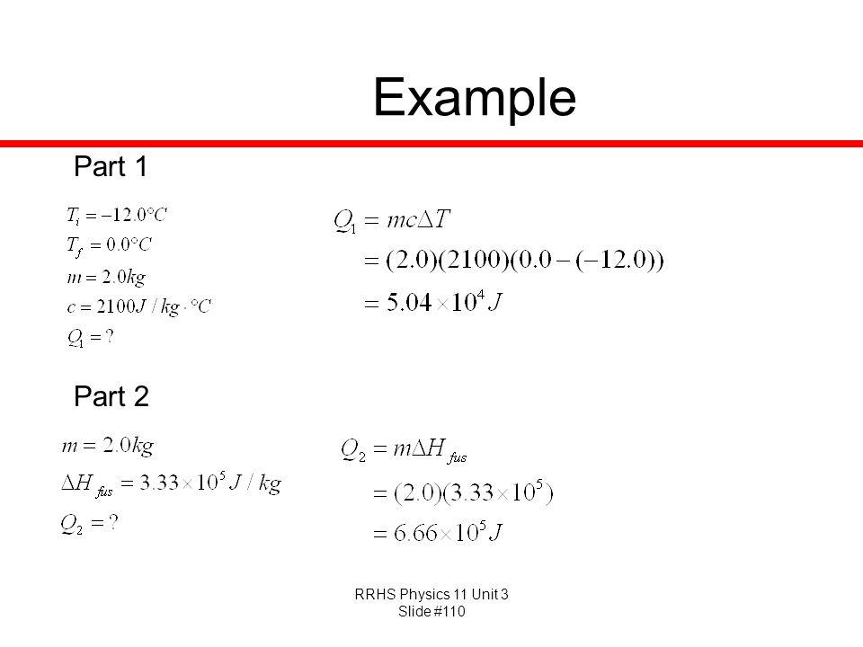 RRHS Physics 11 Unit 3 Slide #110 Example Part 1 Part 2