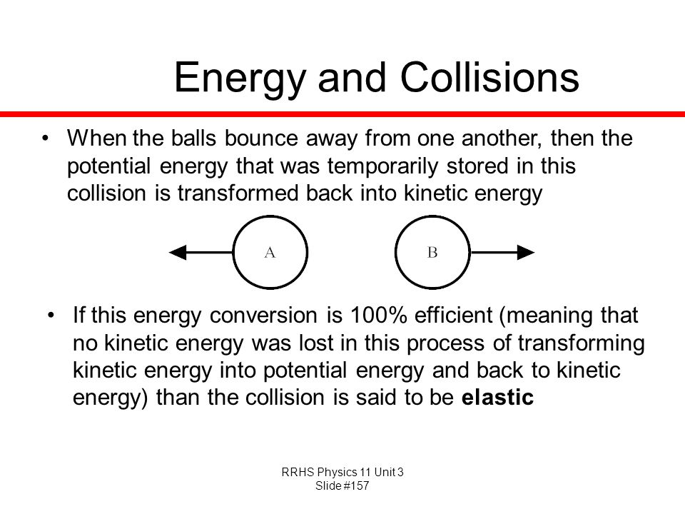 RRHS Physics 11 Unit 3 Slide #157 Energy and Collisions When the balls bounce away from one another, then the potential energy that was temporarily st
