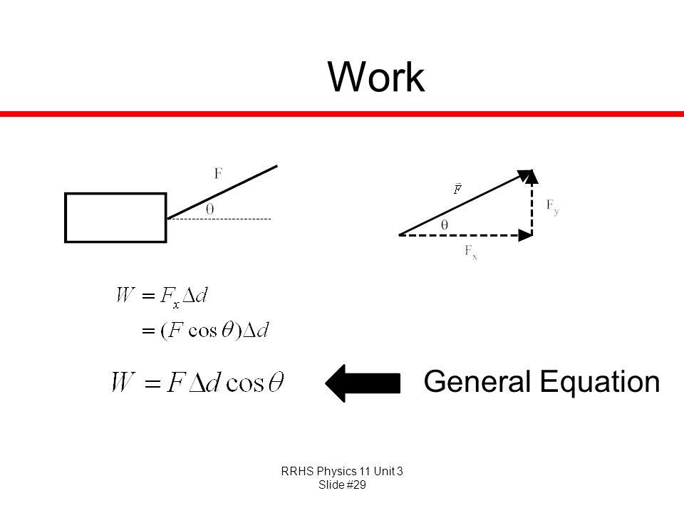 RRHS Physics 11 Unit 3 Slide #29 Work General Equation