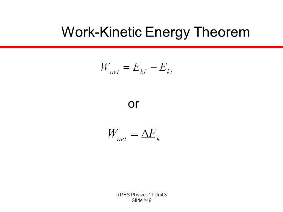 RRHS Physics 11 Unit 3 Slide #49 Work-Kinetic Energy Theorem or
