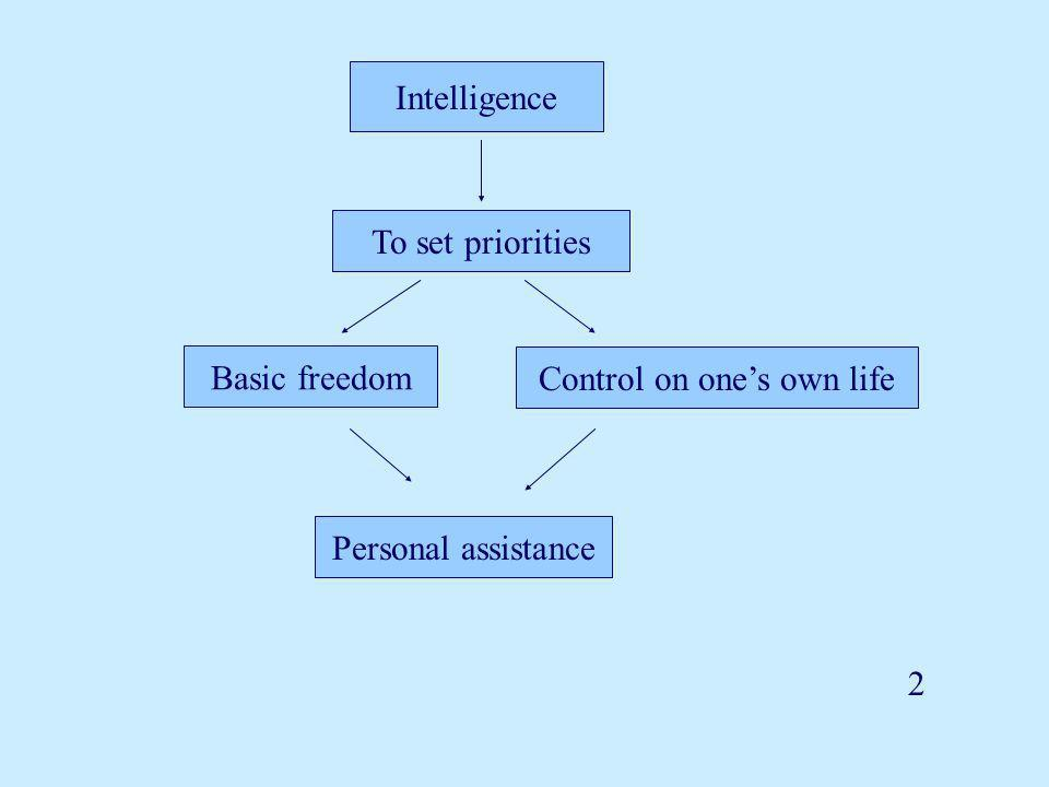 Intelligence To set priorities Basic freedom Control on one's own life Personal assistance 2