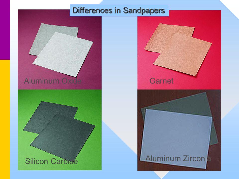 Differences in Sandpapers Silicon Carbide Aluminum OxideGarnet Aluminum Zirconia
