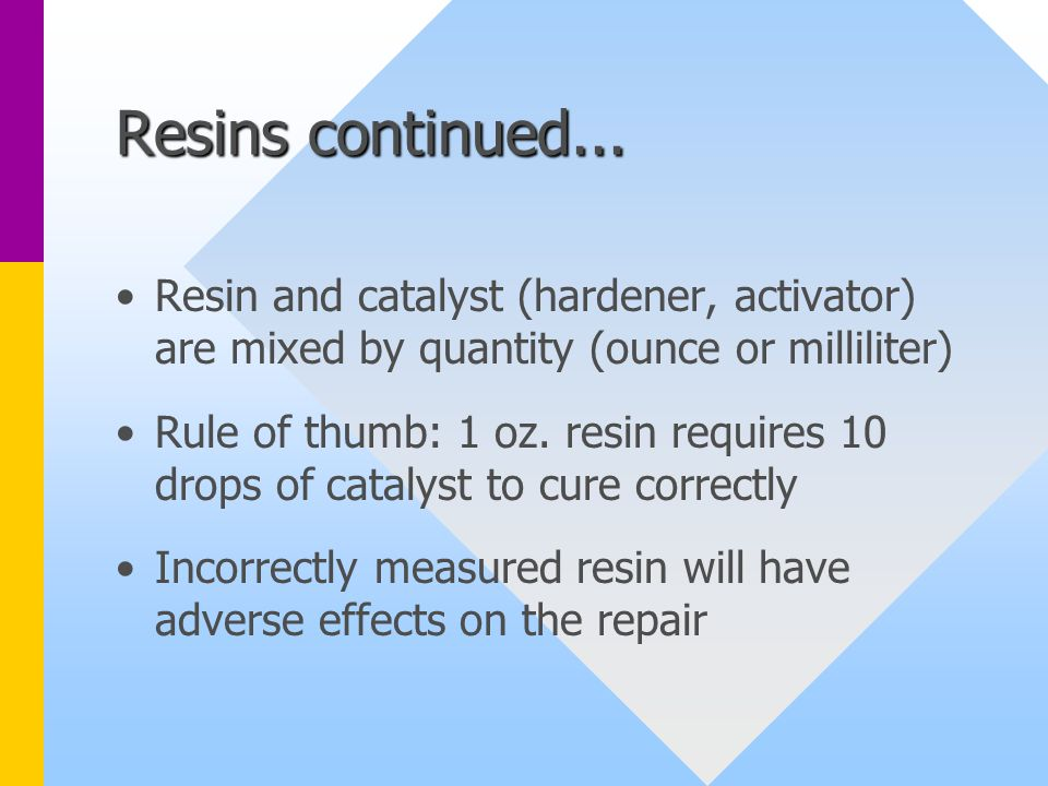 Resins continued...