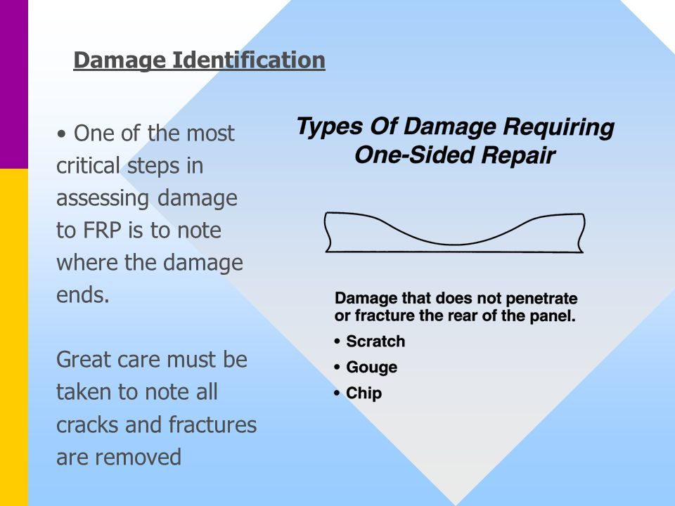 Damage Identification One of the most critical steps in assessing damage to FRP is to note where the damage ends.