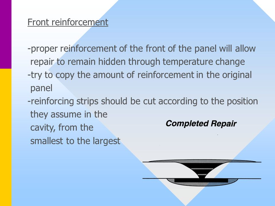 Front reinforcement -proper reinforcement of the front of the panel will allow repair to remain hidden through temperature change -try to copy the amount of reinforcement in the original panel -reinforcing strips should be cut according to the position they assume in the cavity, from the smallest to the largest