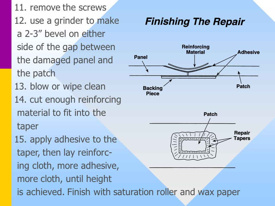"""11. remove the screws 12. use a grinder to make a 2-3"""" bevel on either side of the gap between the damaged panel and the patch 13. blow or wipe clean"""