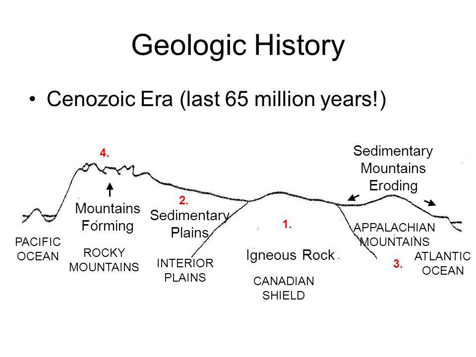 Geologic History Cenozoic Era (last 65 million years!) Mountains Forming Igneous Rock Sedimentary Mountains Eroding Sedimentary Plains PACIFIC OCEAN R