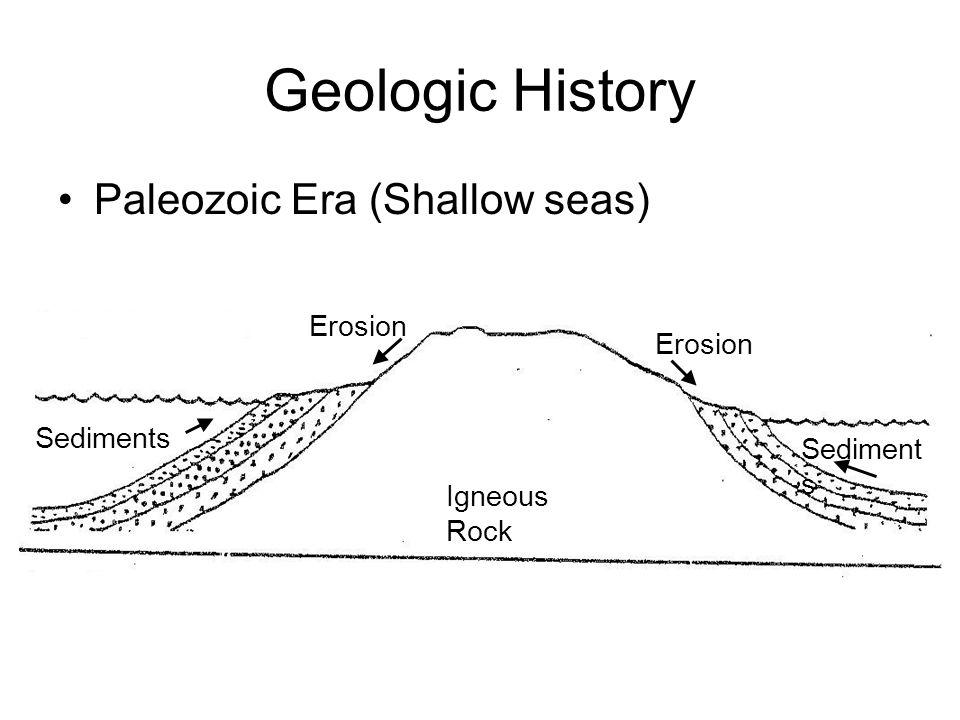 Geologic History Paleozoic Era (Shallow seas) Igneous Rock Erosion Sediment s