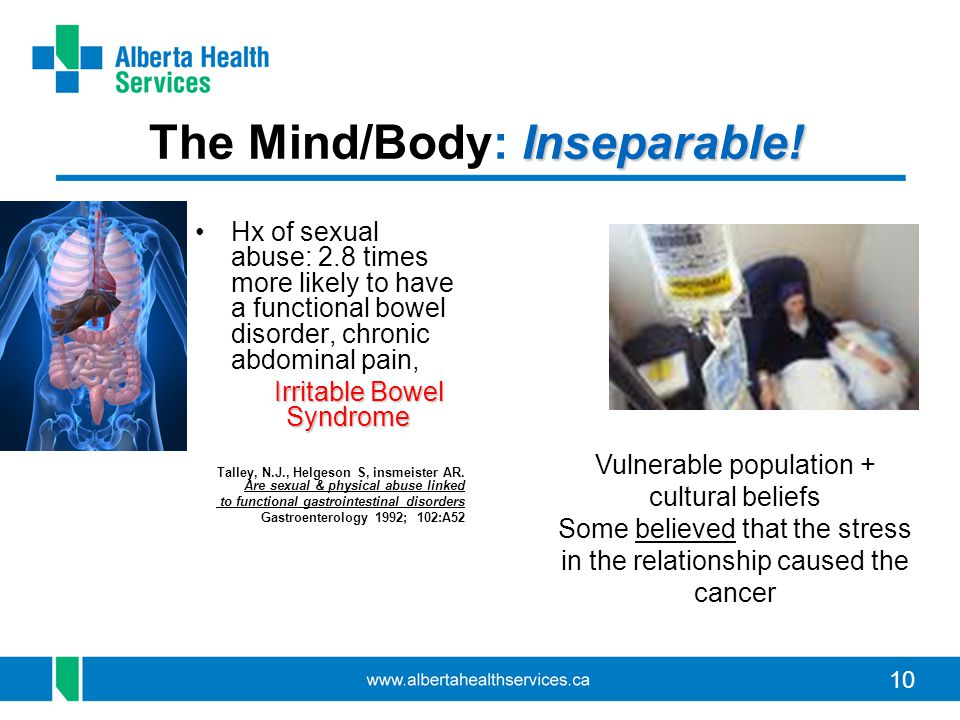 10 Inseparable! The Mind/Body: Inseparable! Hx of sexual abuse: 2.8 times more likely to have a functional bowel disorder, chronic abdominal pain, Irr