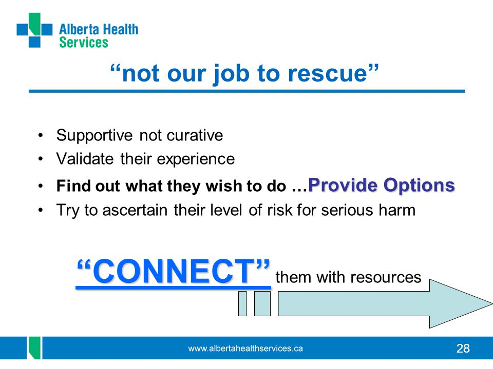 "28 ""not our job to rescue"" Supportive not curative Validate their experience Provide OptionsFind out what they wish to do … Provide Options Try to asc"