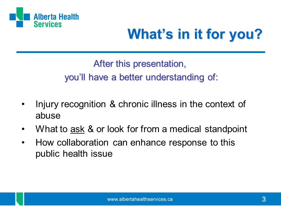 3 What's in it for you? After this presentation, you'll have a better understanding of: you'll have a better understanding of: Injury recognition & ch
