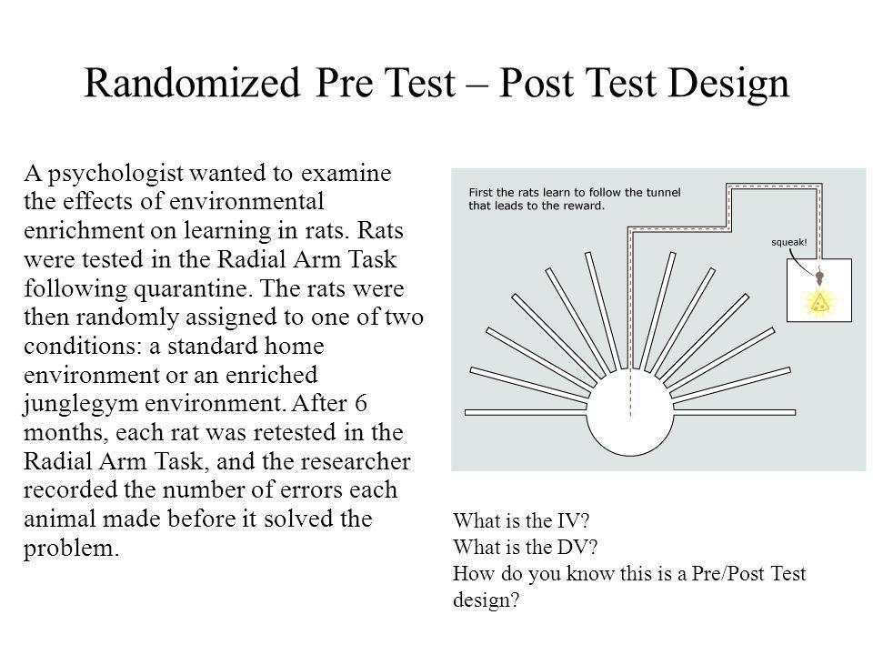 Randomized Pre Test – Post Test Design A psychologist wanted to examine the effects of environmental enrichment on learning in rats.