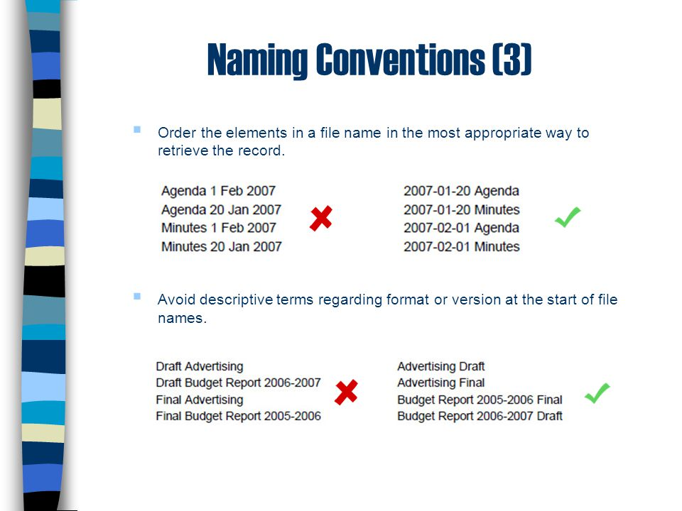Naming Conventions (3)  Order the elements in a file name in the most appropriate way to retrieve the record.  Avoid descriptive terms regarding for