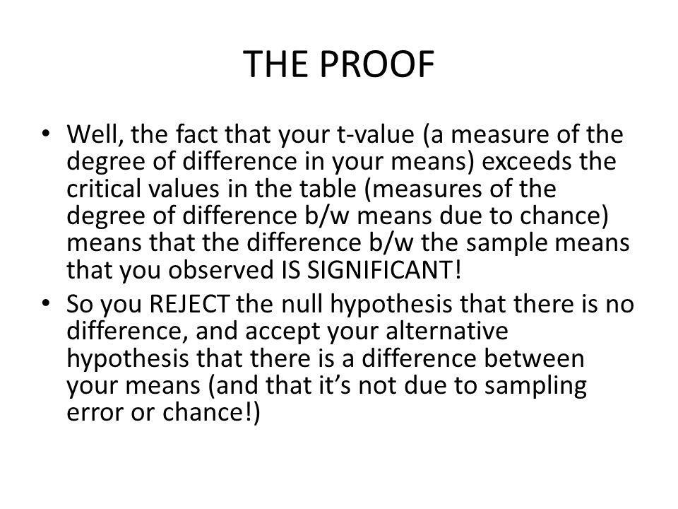 THE PROOF Well, the fact that your t-value (a measure of the degree of difference in your means) exceeds the critical values in the table (measures of the degree of difference b/w means due to chance) means that the difference b/w the sample means that you observed IS SIGNIFICANT.