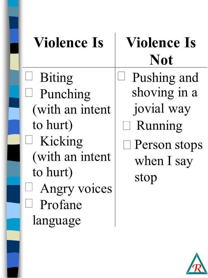R Violence Is Not  Biting  Punching (with an intent to hurt)  Kicking (with an intent to hurt)  Angry voices  Profane language  Pushing and shoving in a jovial way  Running Person stops when I say stop 