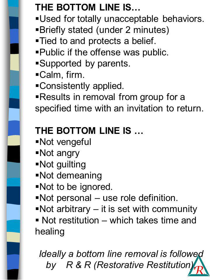 R THE BOTTOM LINE IS…  Used for totally unacceptable behaviors.
