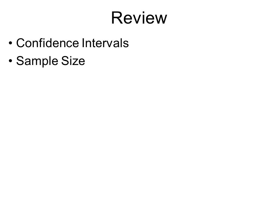 Review Confidence Intervals Sample Size