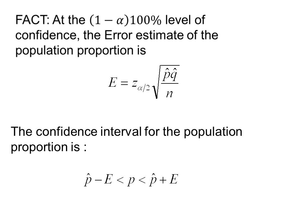 The confidence interval for the population proportion is :