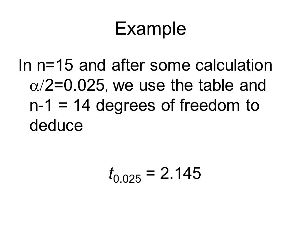Example In n=15 and after some calculation  2=0.025, we use the table and n-1 = 14 degrees of freedom to deduce t = 2.145