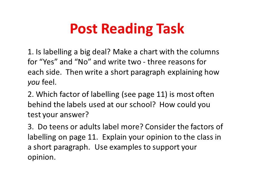 """Post Reading Task 1. Is labelling a big deal? Make a chart with the columns for """"Yes"""" and """"No"""" and write two - three reasons for each side. Then write"""