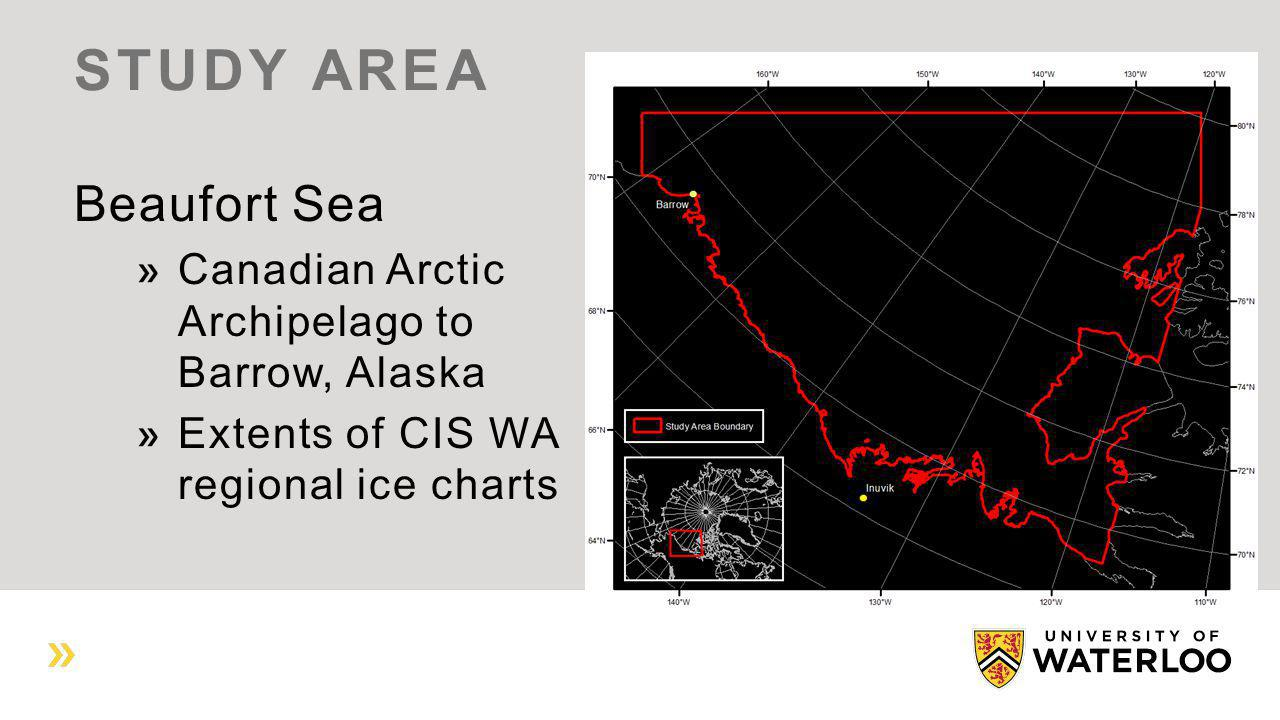 Beaufort Sea Canadian Arctic Archipelago to Barrow, Alaska Extents of CIS WA regional ice charts STUDY AREA