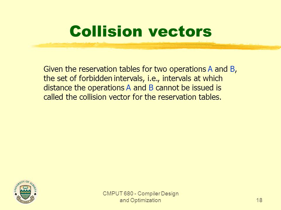 CMPUT 680 - Compiler Design and Optimization18 Collision vectors Given the reservation tables for two operations A and B, the set of forbidden intervals, i.e., intervals at which distance the operations A and B cannot be issued is called the collision vector for the reservation tables.