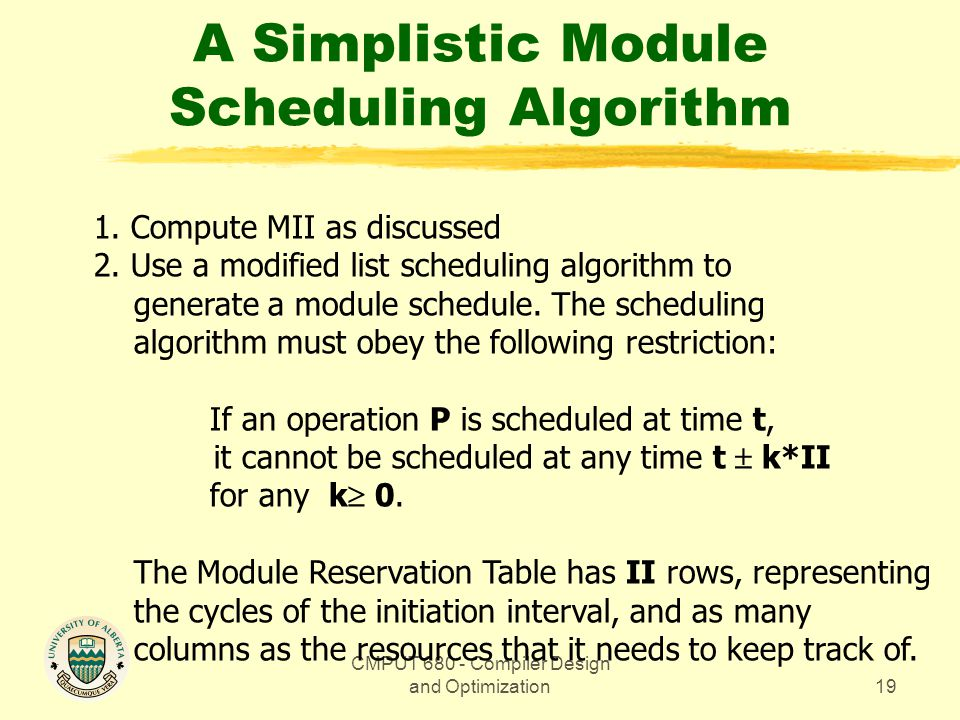 CMPUT 680 - Compiler Design and Optimization19 A Simplistic Module Scheduling Algorithm 1.
